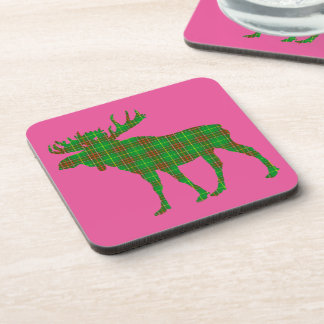 Set Of 6 Newfoundland tartan Drink Coasters moose