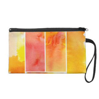 Set of abstract  watercolor hand painted wristlet purse