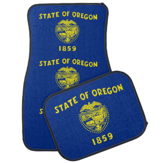 Set of car mats with Flag of Oregon State, USA