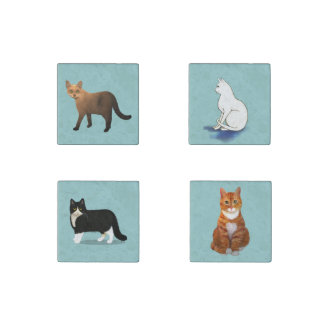 Set of Cats for the Refrigerator Stone Magnet