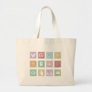 Set of Christian Icons Large Tote Bag