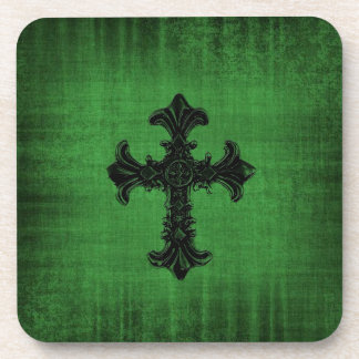 Set of Coasters in Deep Green with Gothic Cross