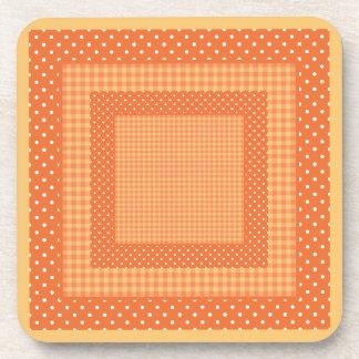 Set of Coasters: Orange Checks and Polka Dots Beverage Coaster