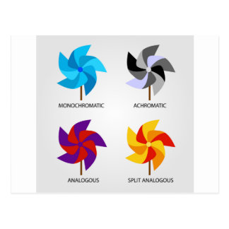 Set of color schemes postcard