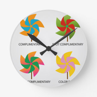 Set of color schemes round clock