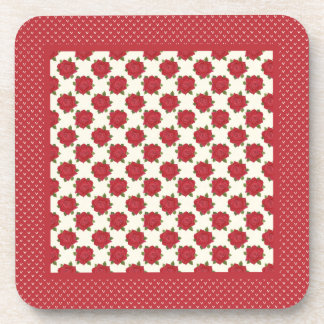 Set of Cork-backed Coasters: Deep Red Roses Drink Coaster