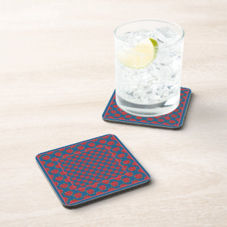 Set of Cork-backed Coasters: Red Roses on Blue Beverage Coaster