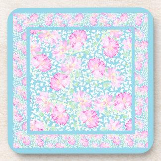 Set of Cork Coasters: Pink Roses White Butterflies Beverage Coaster