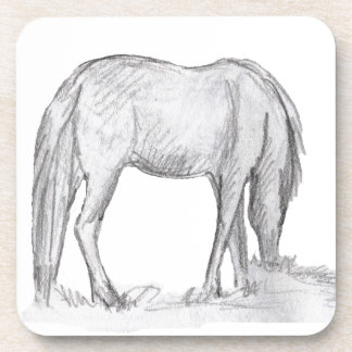 set of cork coasters - pony grazing 3