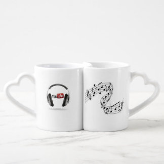 "set of cups,"" music for my ears "" couples coffee mug"
