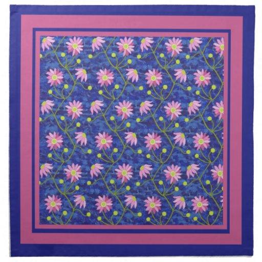 Set of Dark Blue Napkins  with Pink Anemones