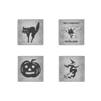 Set of four vintage Halloween symbols in black Stone Magnet