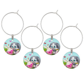Set of Four Wine Charms/Bunnies Wine Glass Charm