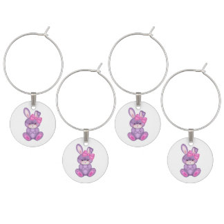 Set of Four Wine Charms/Bunnies Wine Glass Charms