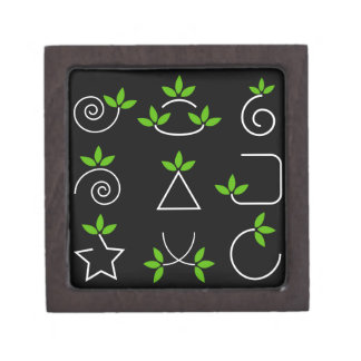 Set of green leaves design elements gift box
