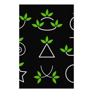 Set of green leaves design elements stationery