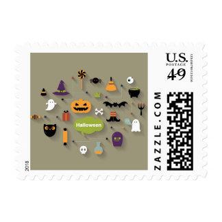 Set Of Halloween Icons Postage