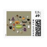 Set Of Halloween Icons Postage Stamp