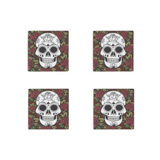 Set of magnets Retro sugar skull red roses