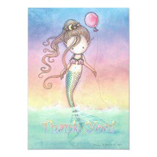 Set of Mermaid Birthday Thank You Notes 5x7 Paper Invitation Card