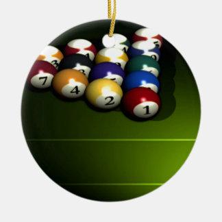 Set of pool balls ceramic ornament