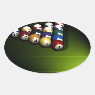 Set of pool balls oval sticker