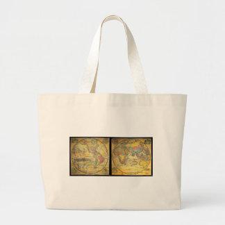 Set of Rare Hemisphere Wall Maps c. 1858 Canvas Bag