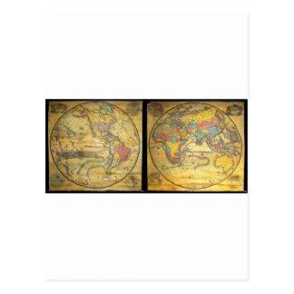 Set of Rare Hemisphere Wall Maps c. 1858 Postcard