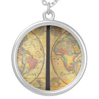 Set of Rare Hemisphere Wall Maps c. 1858 Round Pendant Necklace