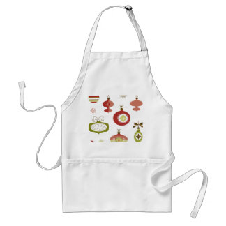 Set of Retro Christmas Ornaments Adult Apron