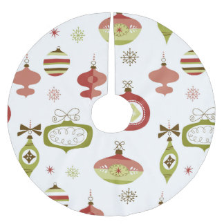 Set of Retro Christmas Ornaments Brushed Polyester Tree Skirt