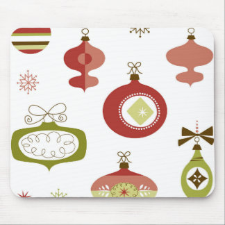 Set of Retro Christmas Ornaments Mouse Pad