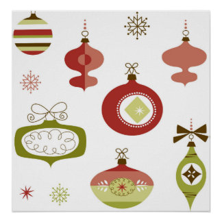 Set of Retro Christmas Ornaments Poster