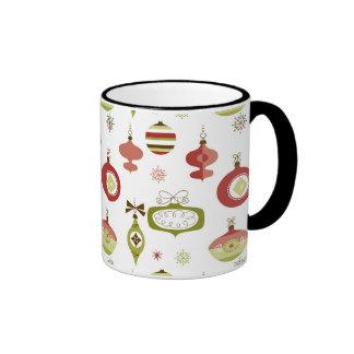 Set of Retro Christmas Ornaments Ringer Mug
