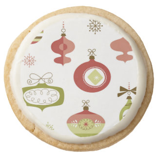 Set of Retro Christmas Ornaments Round Shortbread Cookie