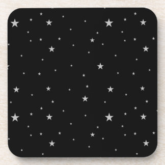 Set of Silver Stars On Black Drink Coaster