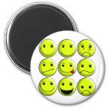 Set of Smileys 2 Inch Round Magnet