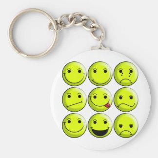 Set of Smileys Basic Round Button Keychain