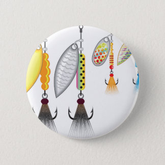 Set of spinners fishing lures vector illustration pinback button