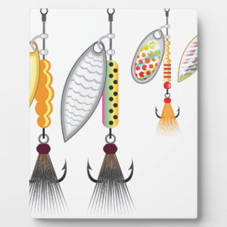 Set of spinners fishing lures vector illustration plaque