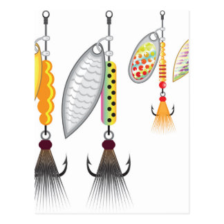 Set of spinners fishing lures vector illustration postcard
