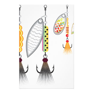 Set of spinners fishing lures vector illustration stationery