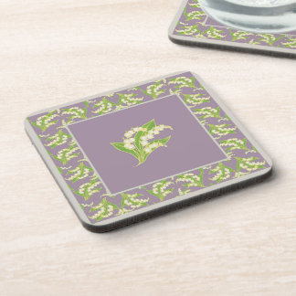 Set of Square Coasters: Lily of the Valley, Mauve Drink Coaster