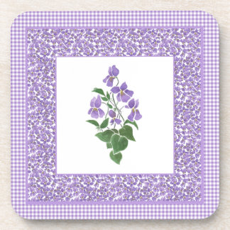Set of Square Coasters, Violets and Check Gingham Coaster