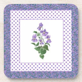 Set of Square Coasters, Violets and Polka Dots Coaster