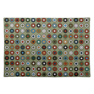 """Set of table """"Flowers on green bottom """" Placemat"""