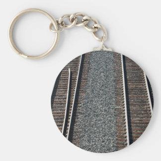 set of train tracks basic round button keychain