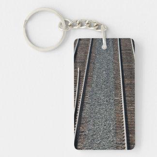 set of train tracks Double-Sided rectangular acrylic keychain