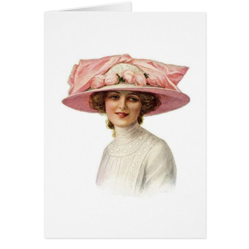 Set of Vintage Millinery Notecard (3) Stationery Note Card
