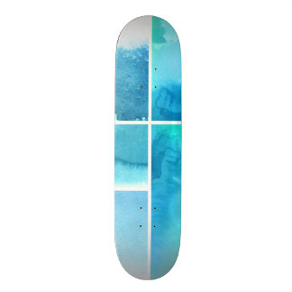 Set of watercolor abstract hand painted 2 skateboard deck